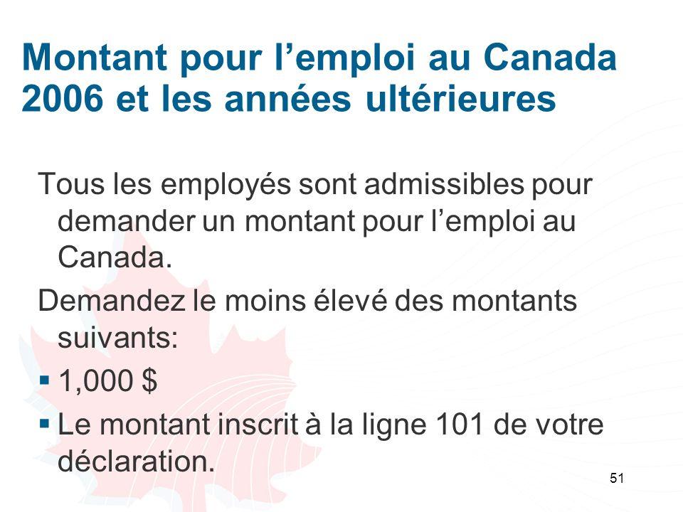 Montant pour l'emploi au Canada 2006 et les années ultérieures