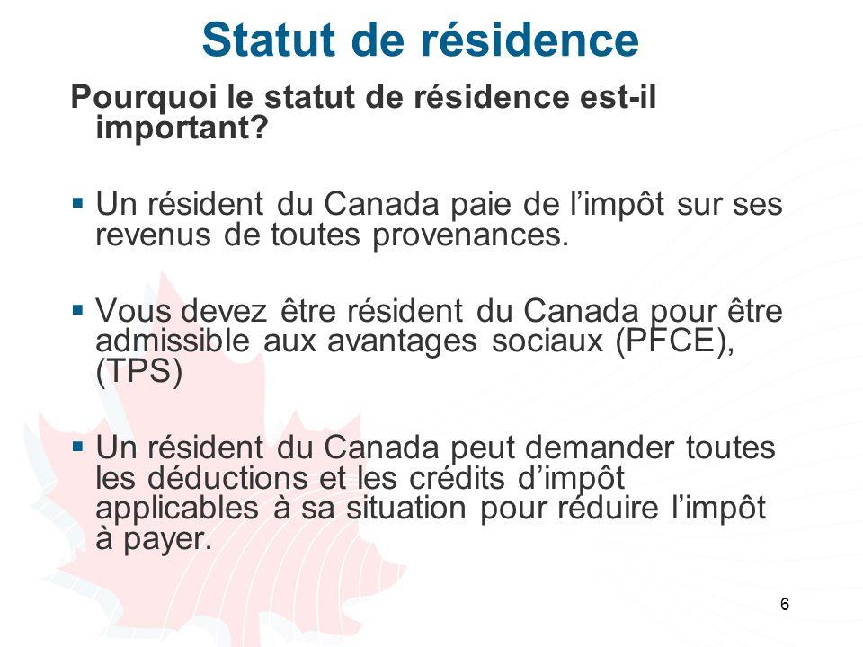 Statut de résidence Pourquoi le statut de résidence est-il important