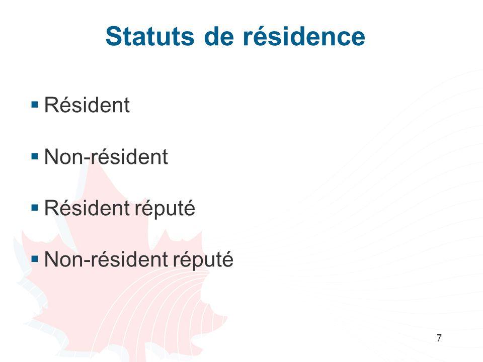 Statuts de résidence Résident Non-résident Résident réputé