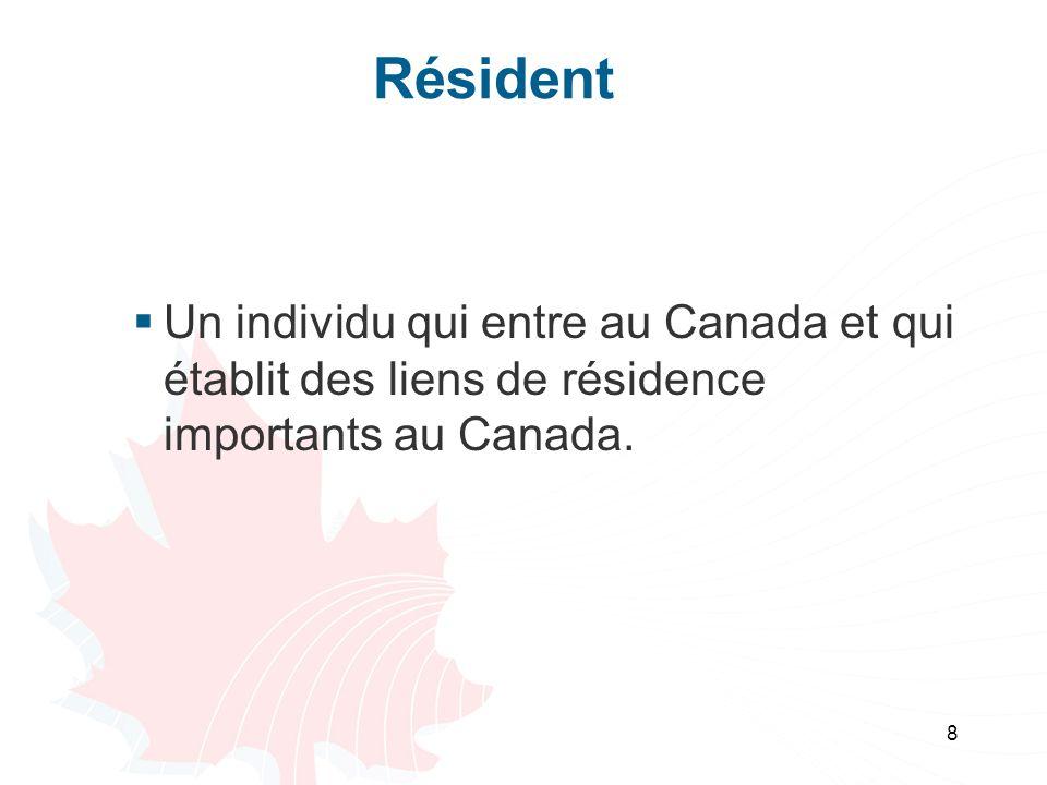 Résident Un individu qui entre au Canada et qui établit des liens de résidence importants au Canada.