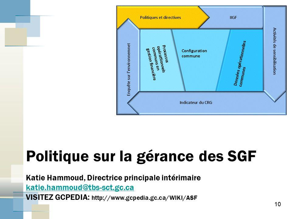 Politique sur la gérance des SGF Katie Hammoud, Directrice principale intérimaire katie.hammoud@tbs-sct.gc.ca VISITEZ GCPEDIA: http://www.gcpedia.gc.ca/WIKI/ASF