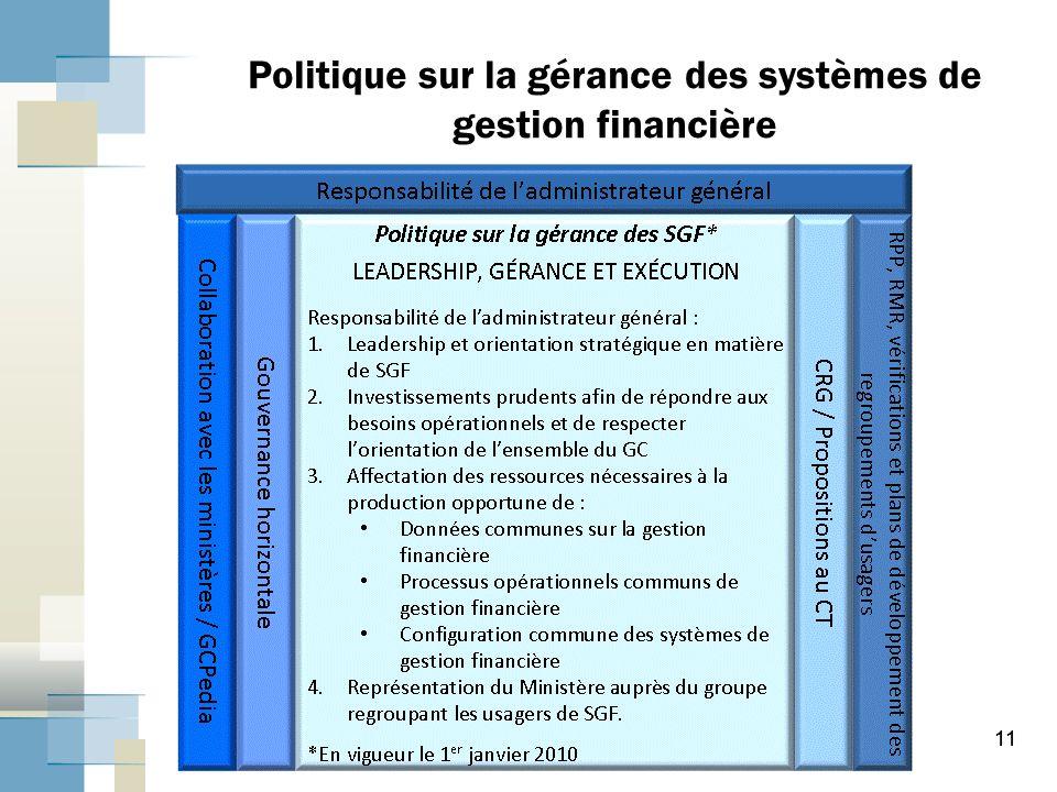 Politique sur la gérance des systèmes de gestion financière