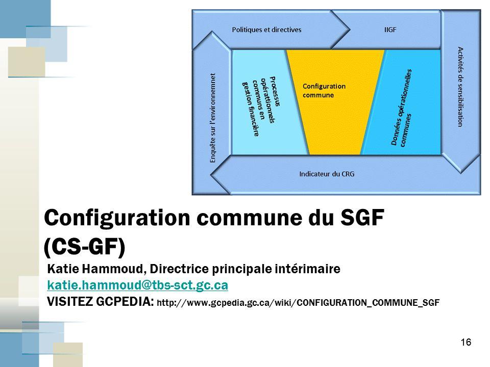 Configuration commune du SGF (CS-GF) Katie Hammoud, Directrice principale intérimaire katie.hammoud@tbs-sct.gc.ca VISITEZ GCPEDIA: http://www.gcpedia.gc.ca/wiki/CONFIGURATION_COMMUNE_SGF