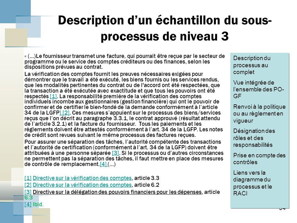 Description d'un échantillon du sous-processus de niveau 3