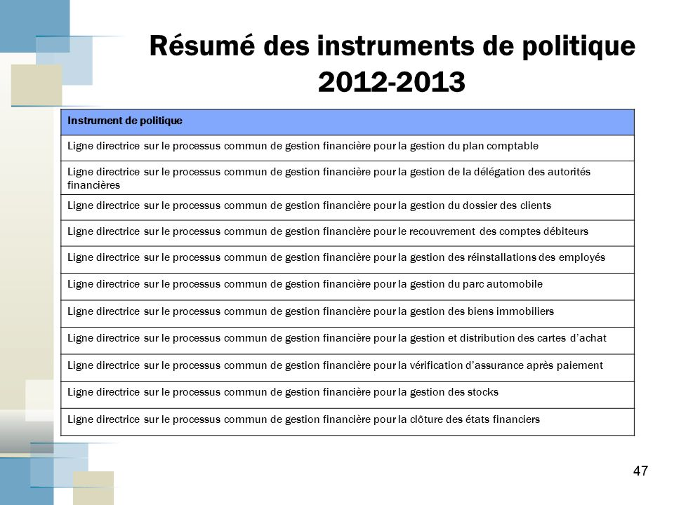 La g rance des syst mes de gestion financi re au sein du - Bureau commun des assurances collectives ...
