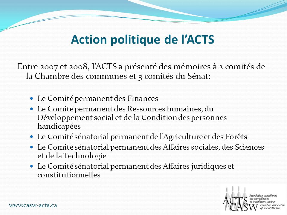 Action politique de l'ACTS