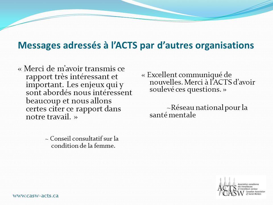 Messages adressés à l'ACTS par d'autres organisations