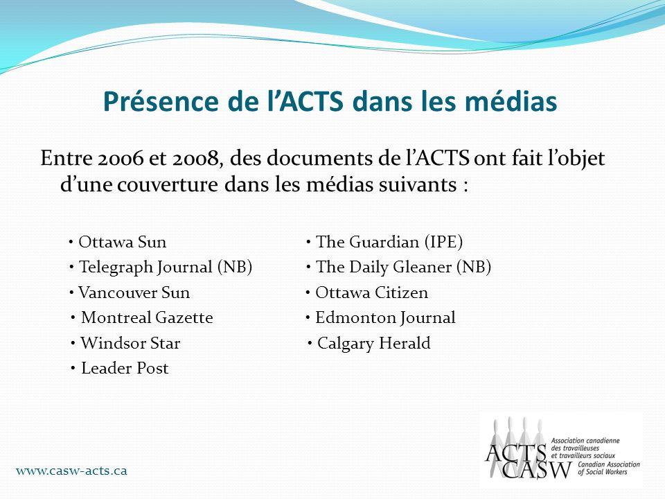 Présence de l'ACTS dans les médias