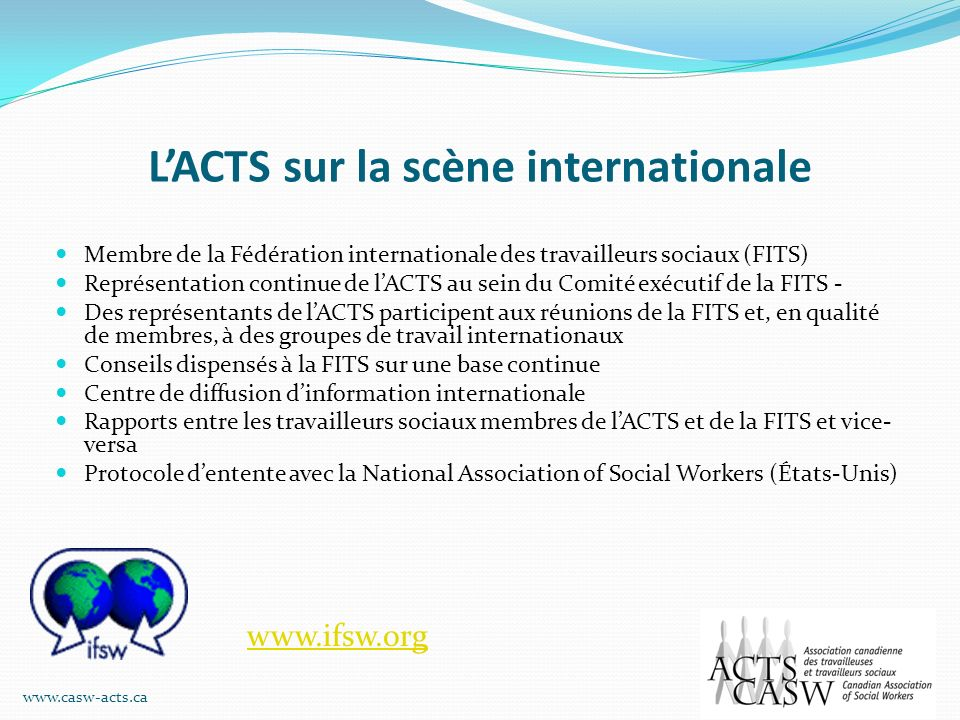 L'ACTS sur la scène internationale