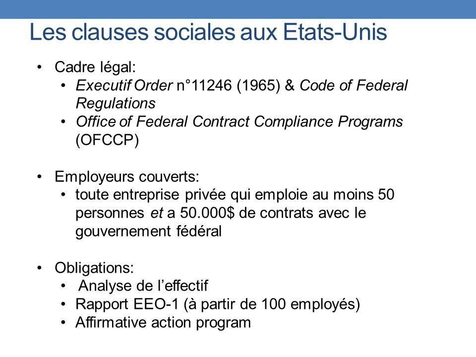 Les clauses sociales aux Etats-Unis