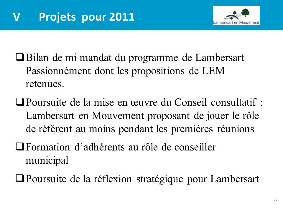 V Projets pour 2011 Bilan de mi mandat du programme de Lambersart Passionnément dont les propositions de LEM retenues.