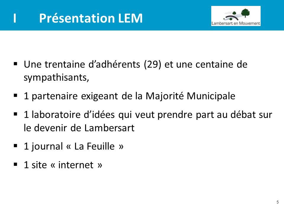 I Présentation LEM Une trentaine d'adhérents (29) et une centaine de sympathisants, 1 partenaire exigeant de la Majorité Municipale.