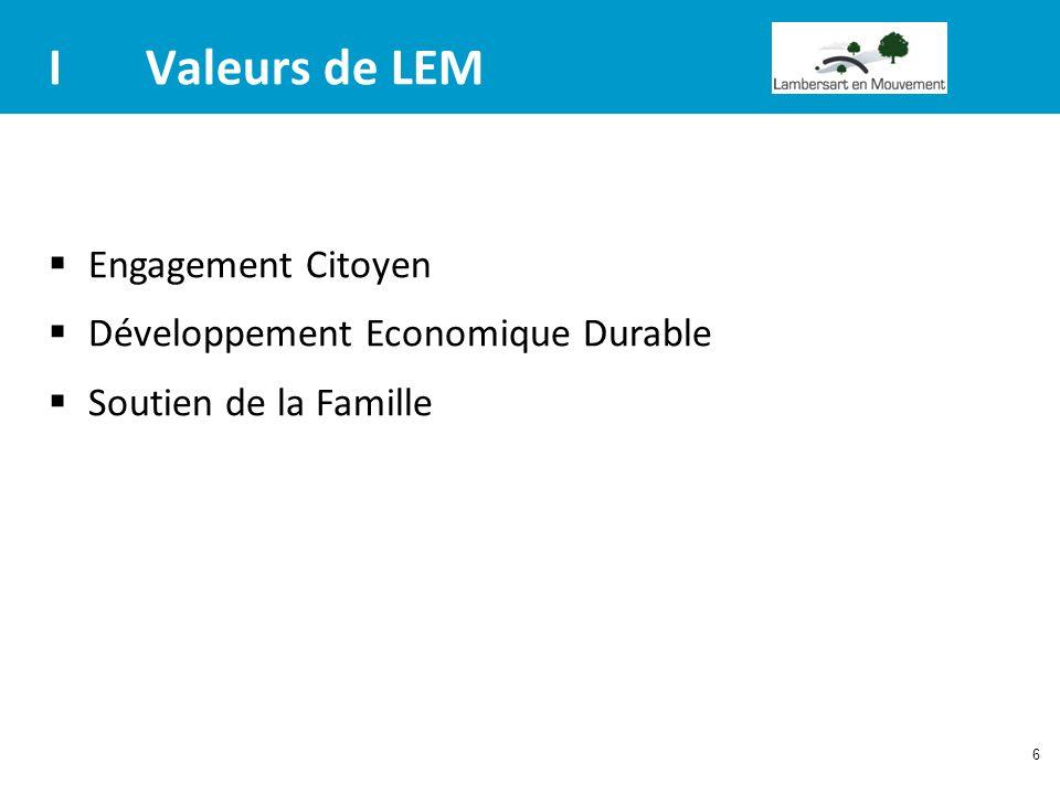 I Valeurs de LEM Engagement Citoyen Développement Economique Durable