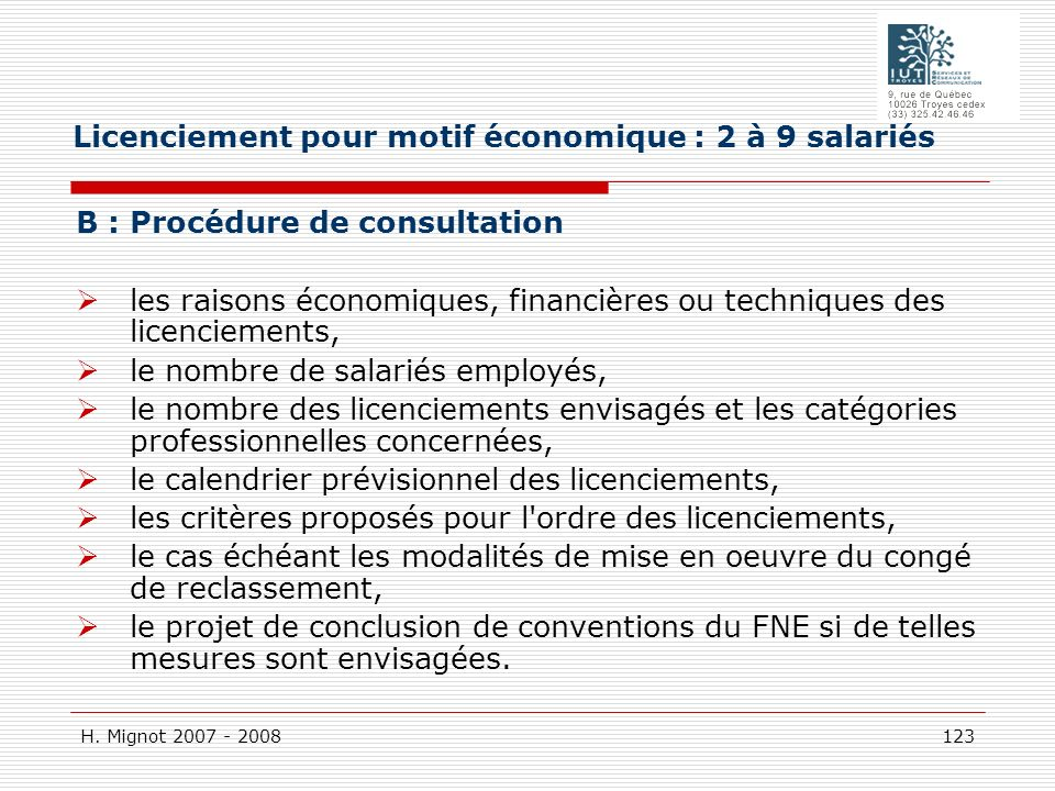 Licenciement pour motif économique : 2 à 9 salariés