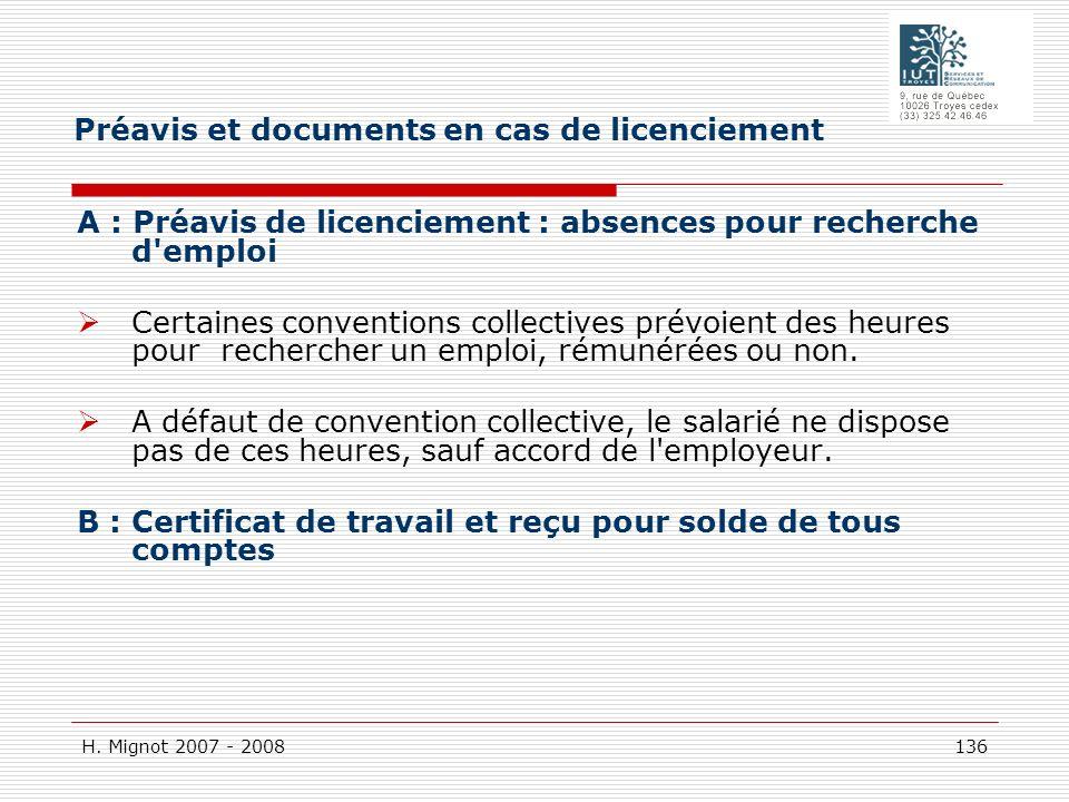 Préavis et documents en cas de licenciement