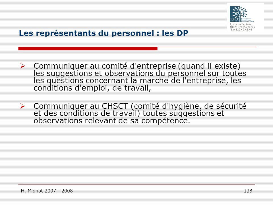 Les représentants du personnel : les DP