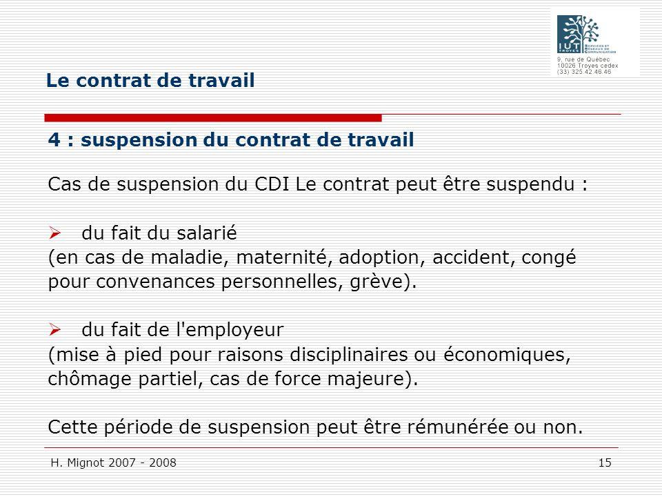 Le contrat de travail 4 : suspension du contrat de travail Cas de suspension du CDI Le contrat peut être suspendu :