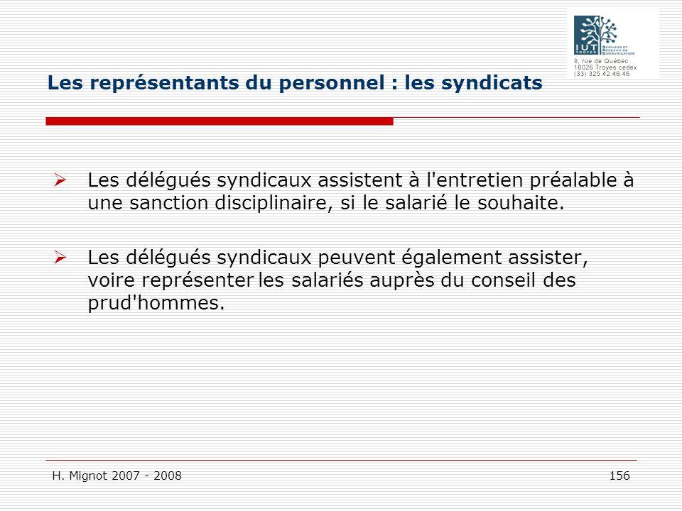 Les représentants du personnel : les syndicats