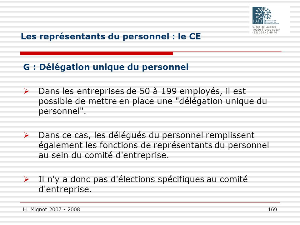 Les représentants du personnel : le CE