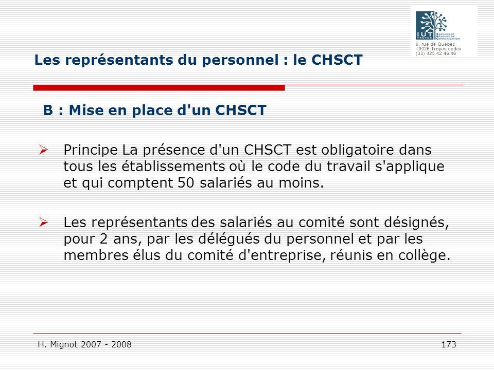 Les représentants du personnel : le CHSCT