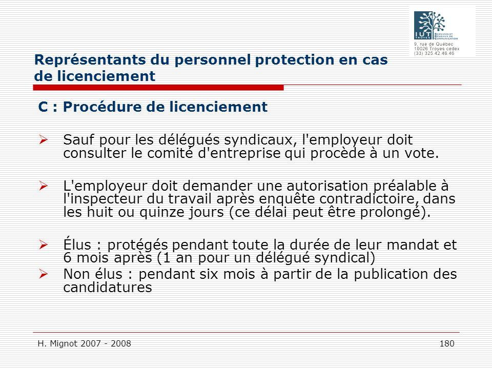 Représentants du personnel protection en cas de licenciement
