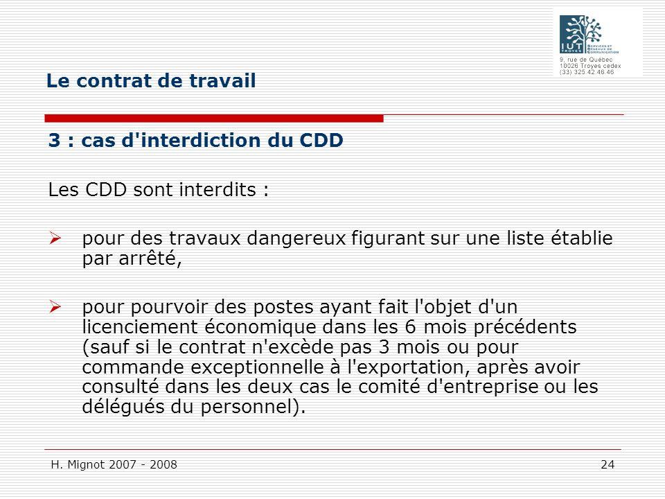 Le contrat de travail 3 : cas d interdiction du CDD Les CDD sont interdits :