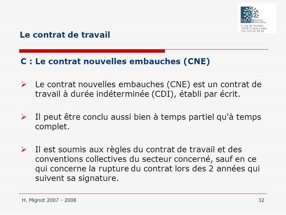 Le contrat de travail C : Le contrat nouvelles embauches (CNE)