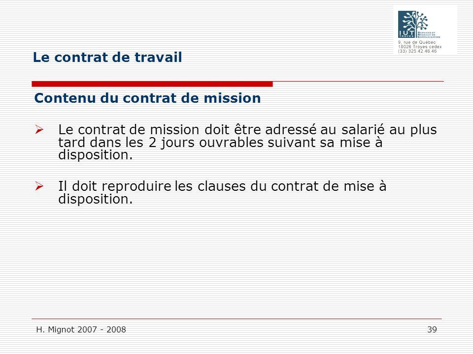 Le contrat de travail Contenu du contrat de mission