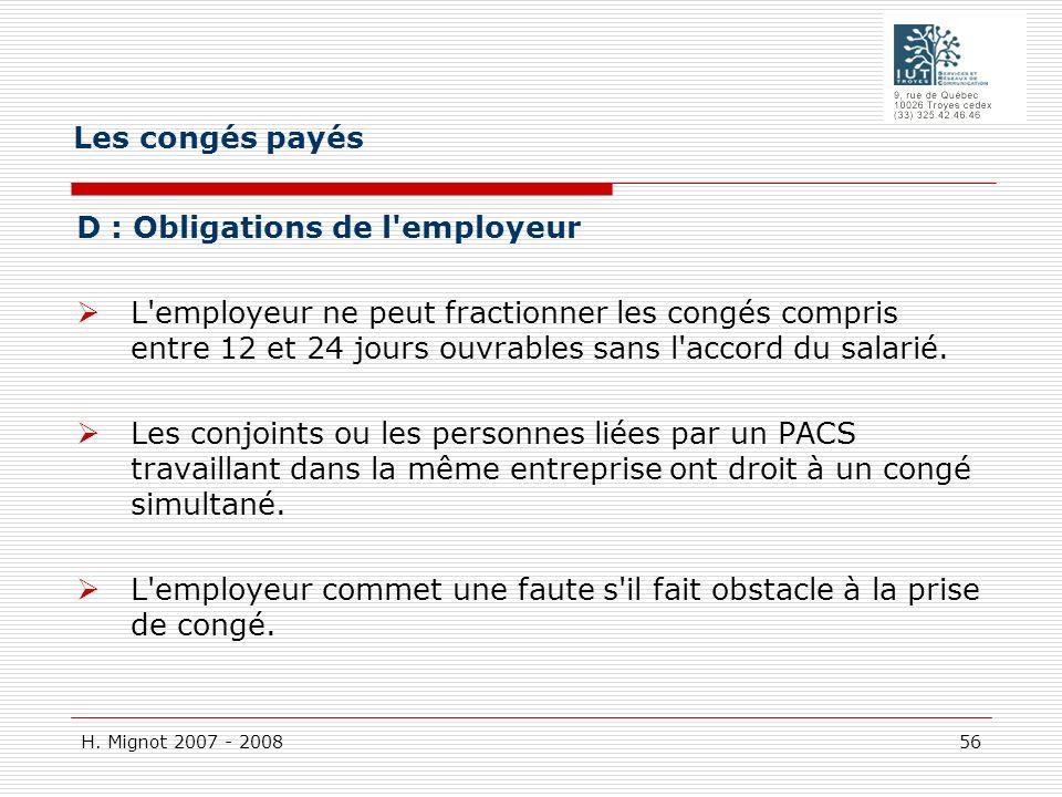 Les congés payés D : Obligations de l employeur