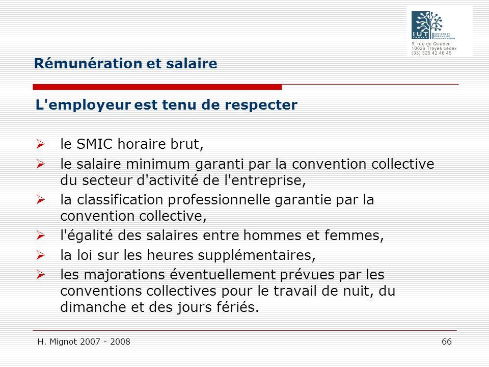 Rémunération et salaire