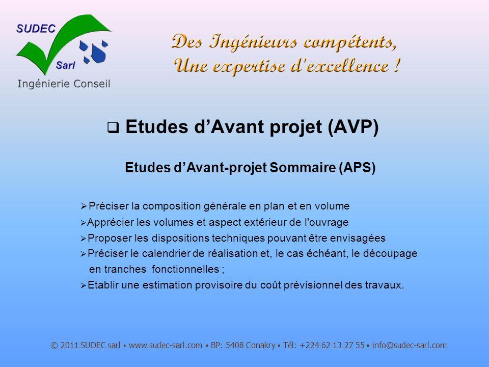 Etudes d'Avant projet (AVP)