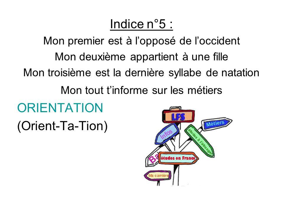 Indice n°5 : ORIENTATION (Orient-Ta-Tion)
