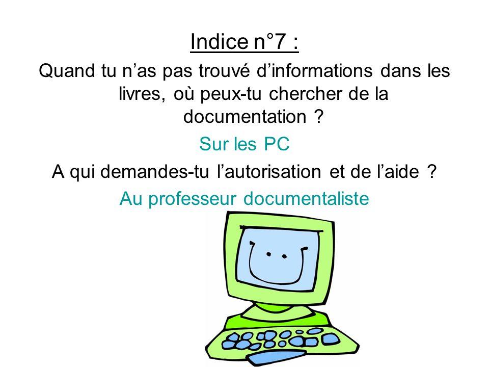 Indice n°7 : Quand tu n'as pas trouvé d'informations dans les livres, où peux-tu chercher de la documentation