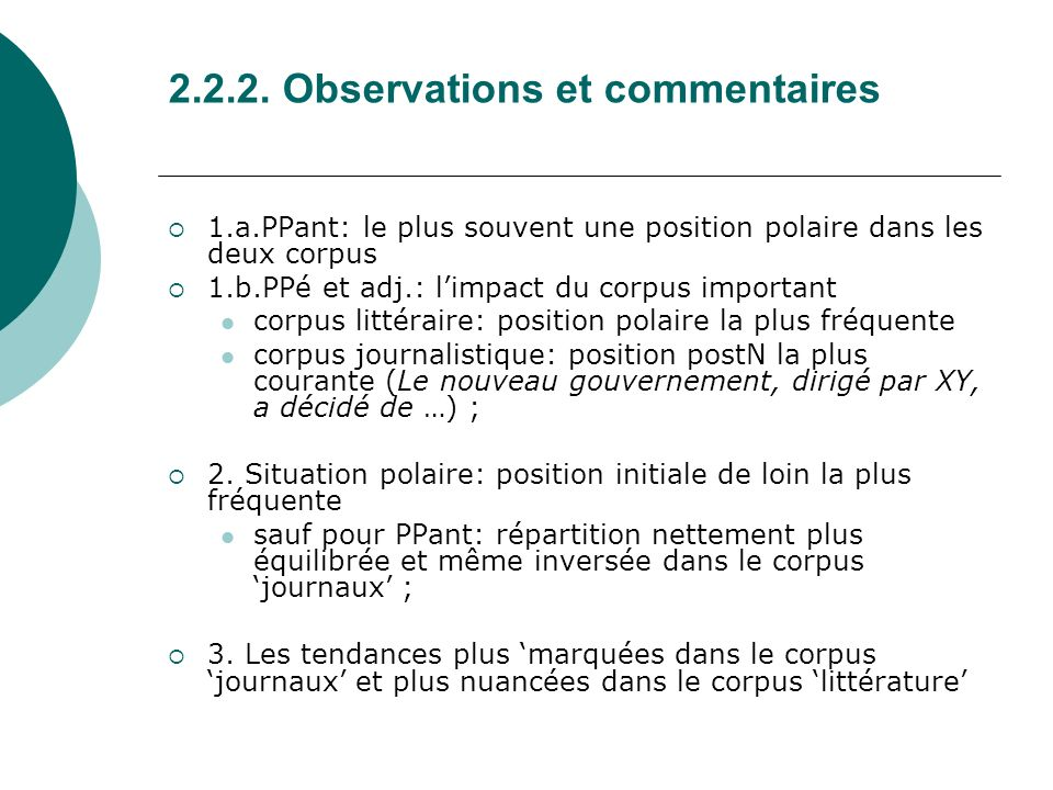 2.2.2. Observations et commentaires