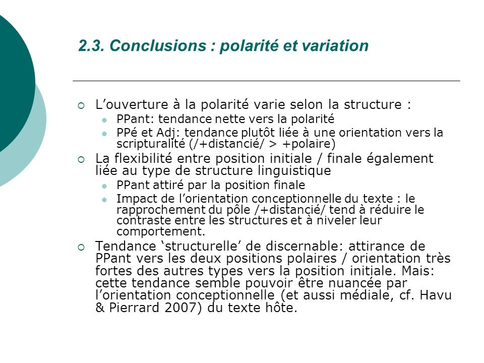 2.3. Conclusions : polarité et variation