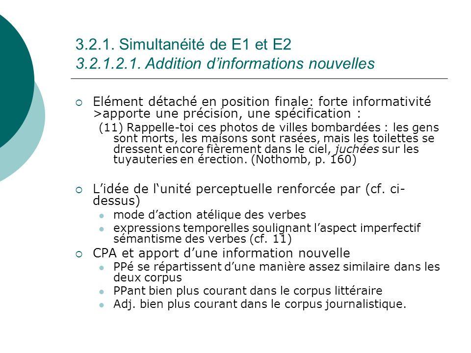 3.2.1. Simultanéité de E1 et E2 3.2.1.2.1. Addition d'informations nouvelles