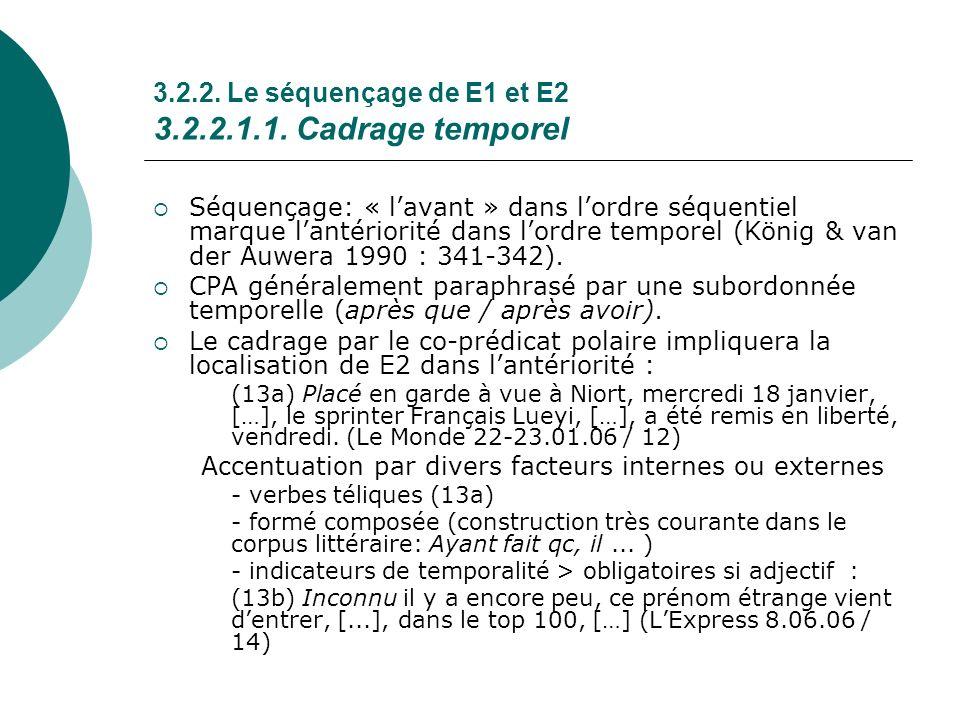 3.2.2. Le séquençage de E1 et E2 3.2.2.1.1. Cadrage temporel