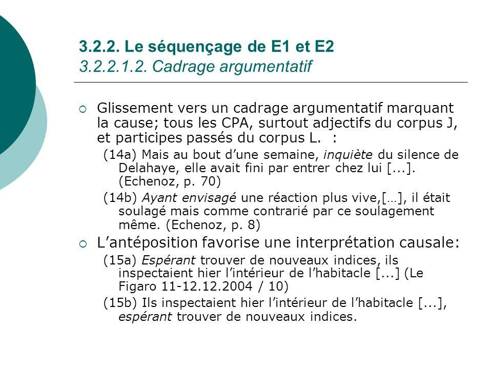 3.2.2. Le séquençage de E1 et E2 3.2.2.1.2. Cadrage argumentatif