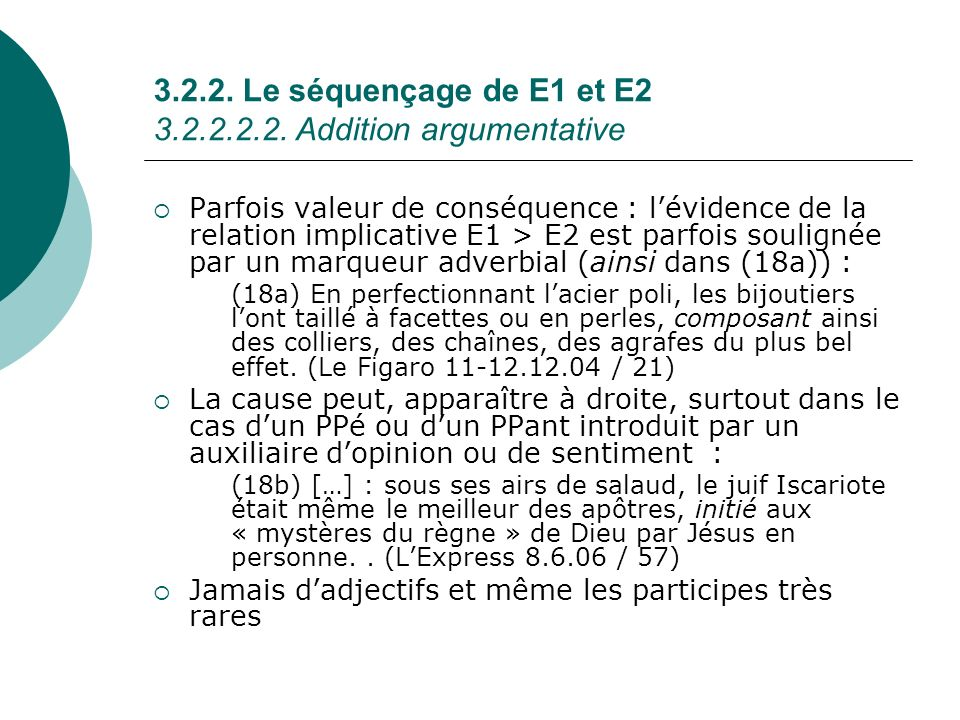 3.2.2. Le séquençage de E1 et E2 3.2.2.2.2. Addition argumentative