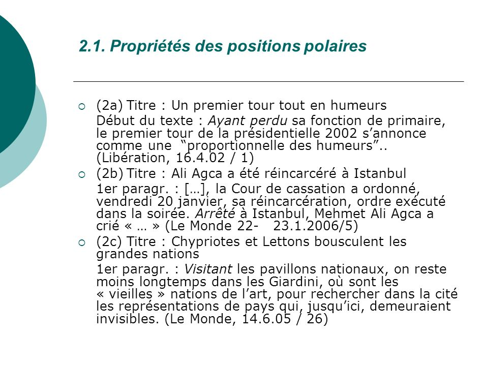 2.1. Propriétés des positions polaires