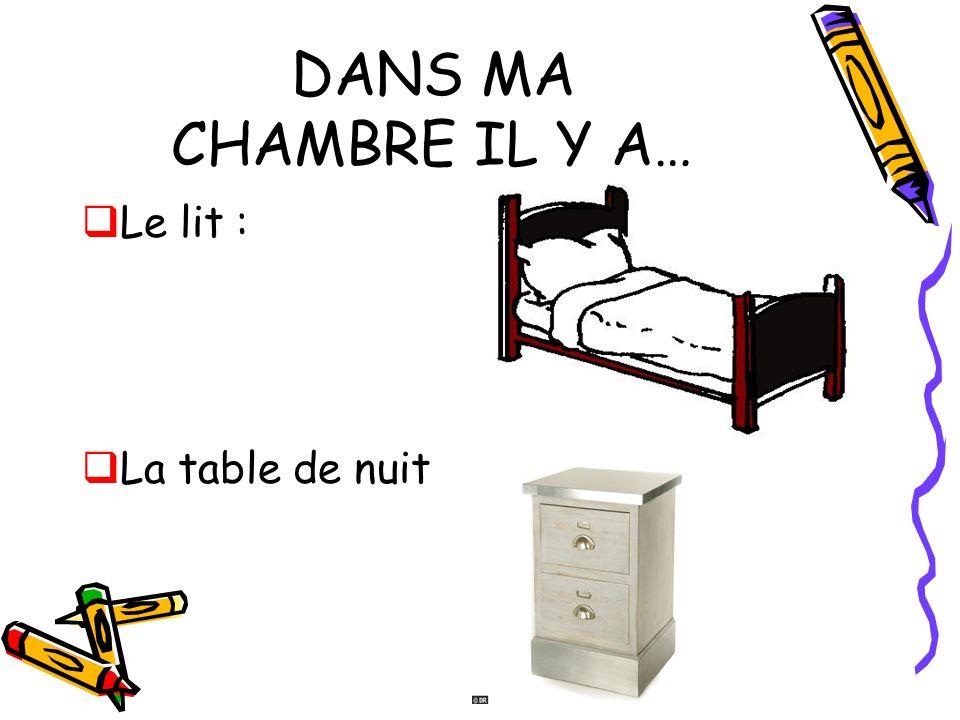 DANS MA CHAMBRE IL Y A… Le lit : La table de nuit