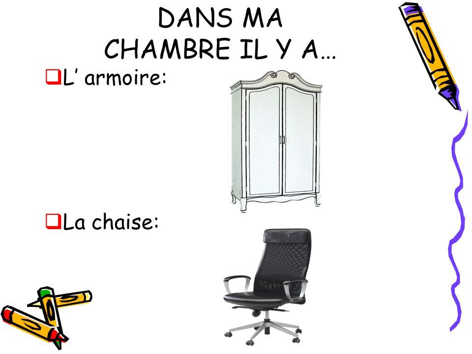 DANS MA CHAMBRE IL Y A… L' armoire: La chaise: