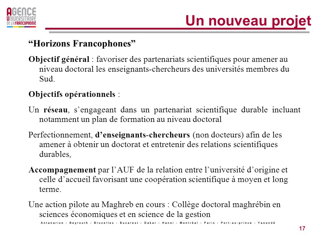 Un nouveau projet Horizons Francophones