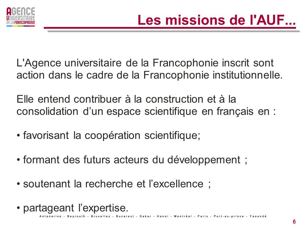 Les missions de l AUF... L Agence universitaire de la Francophonie inscrit sont action dans le cadre de la Francophonie institutionnelle.
