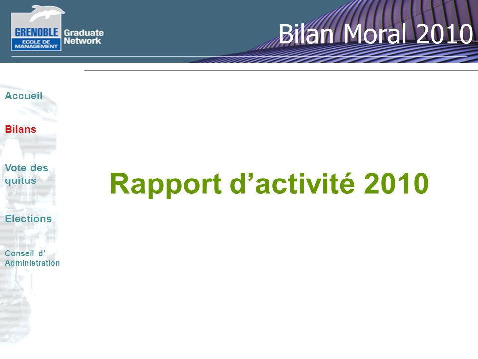 Rapport d'activité 2010 Bilan Moral 2010 Accueil Bilans