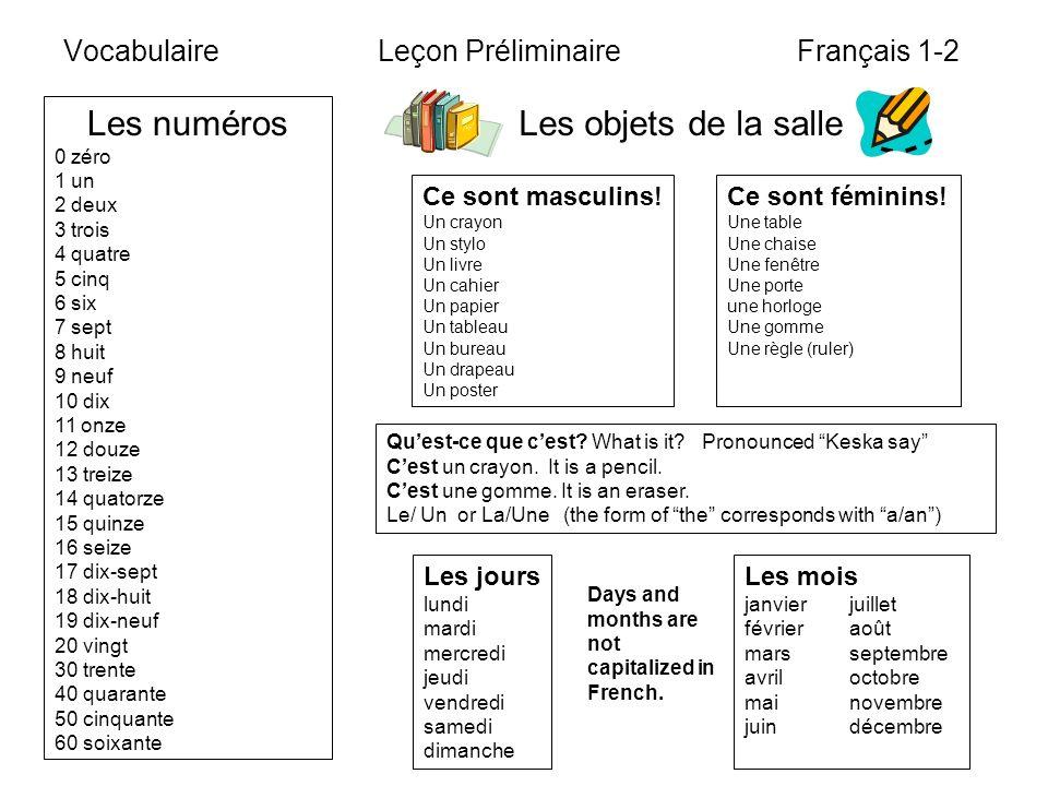 Vocabulaire Leçon Préliminaire Français 1-2