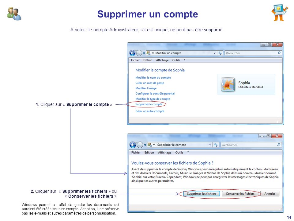 Supprimer un compte A noter : le compte Administrateur, s'il est unique, ne peut pas être supprimé.