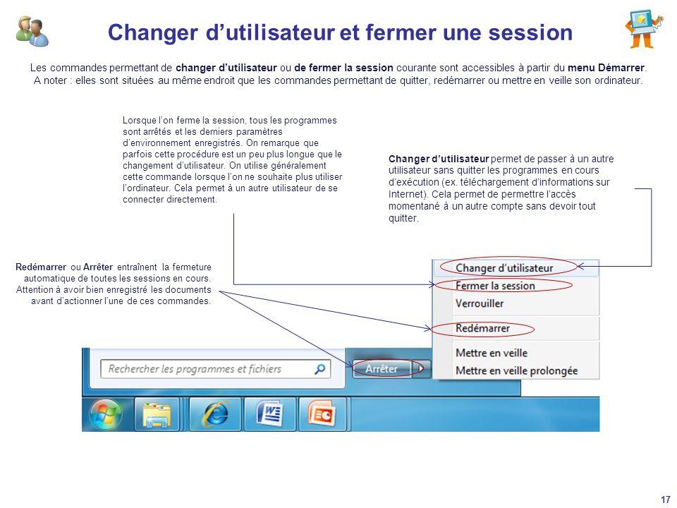 Changer d'utilisateur et fermer une session