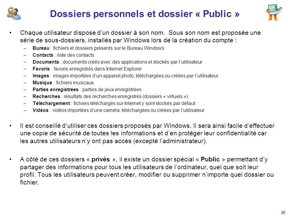 Dossiers personnels et dossier « Public »