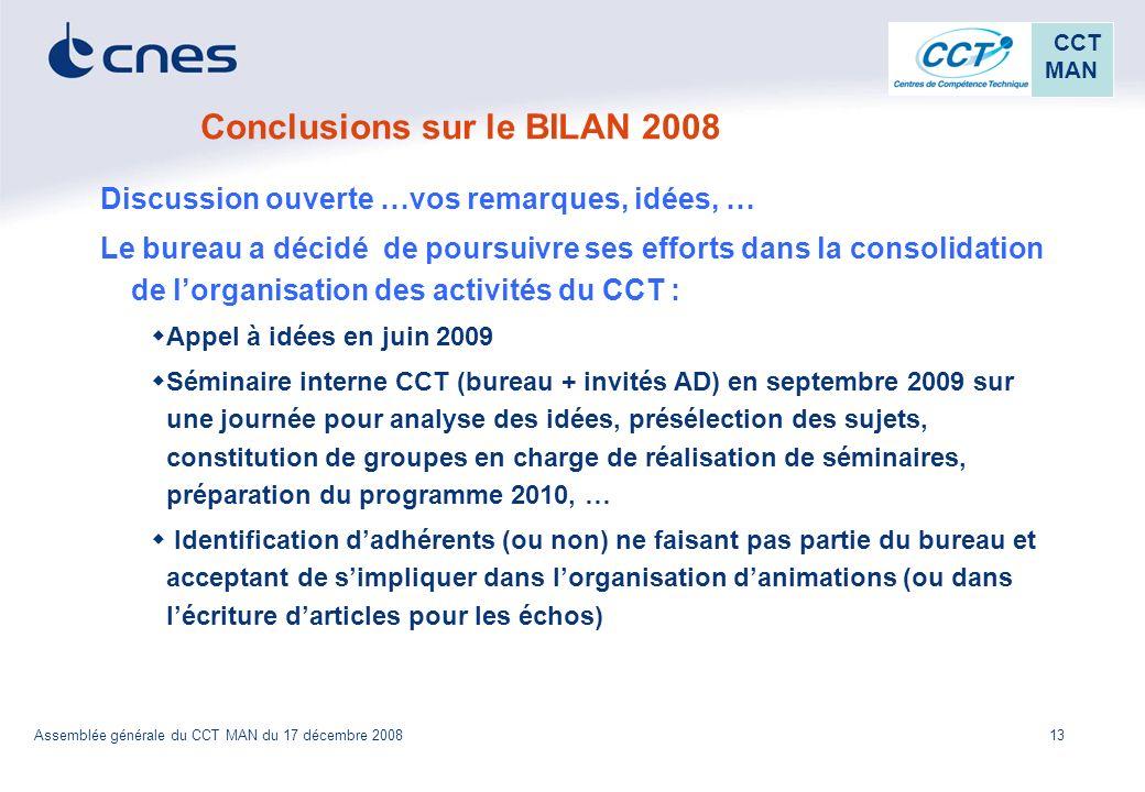 Conclusions sur le BILAN 2008